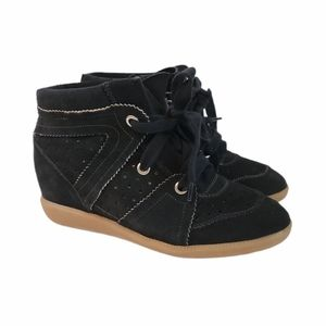 """Isabel Marant Wedge """"Bobby"""" Leather Sneakers Black"""